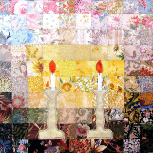 Shabbat candles watercolor challah cover