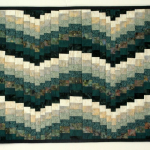 Green Bargello Quilted Coffee Table Runner