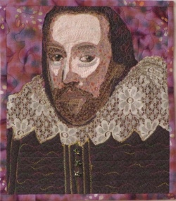 Portrait of Shakespeare, quilted portrait