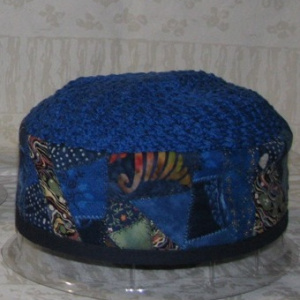 Blue Crazy-Quilted Hat
