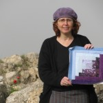 Quiltsy round robin quilt block and me, in front of tel Beit Shemesh