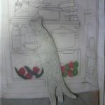 cat in fridge tracing