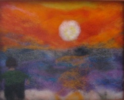 Needle Felted Mediterranean Sunset
