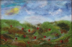 Needle Felted Field of Poppies