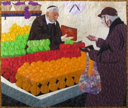 Rainbow of Colors at the Jerusalem Market fabric art