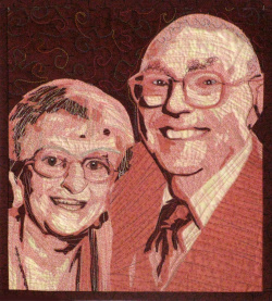 Portrait of Mom and Dad art quilt