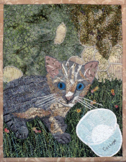 Kitten and Cottage Cheese fabric art