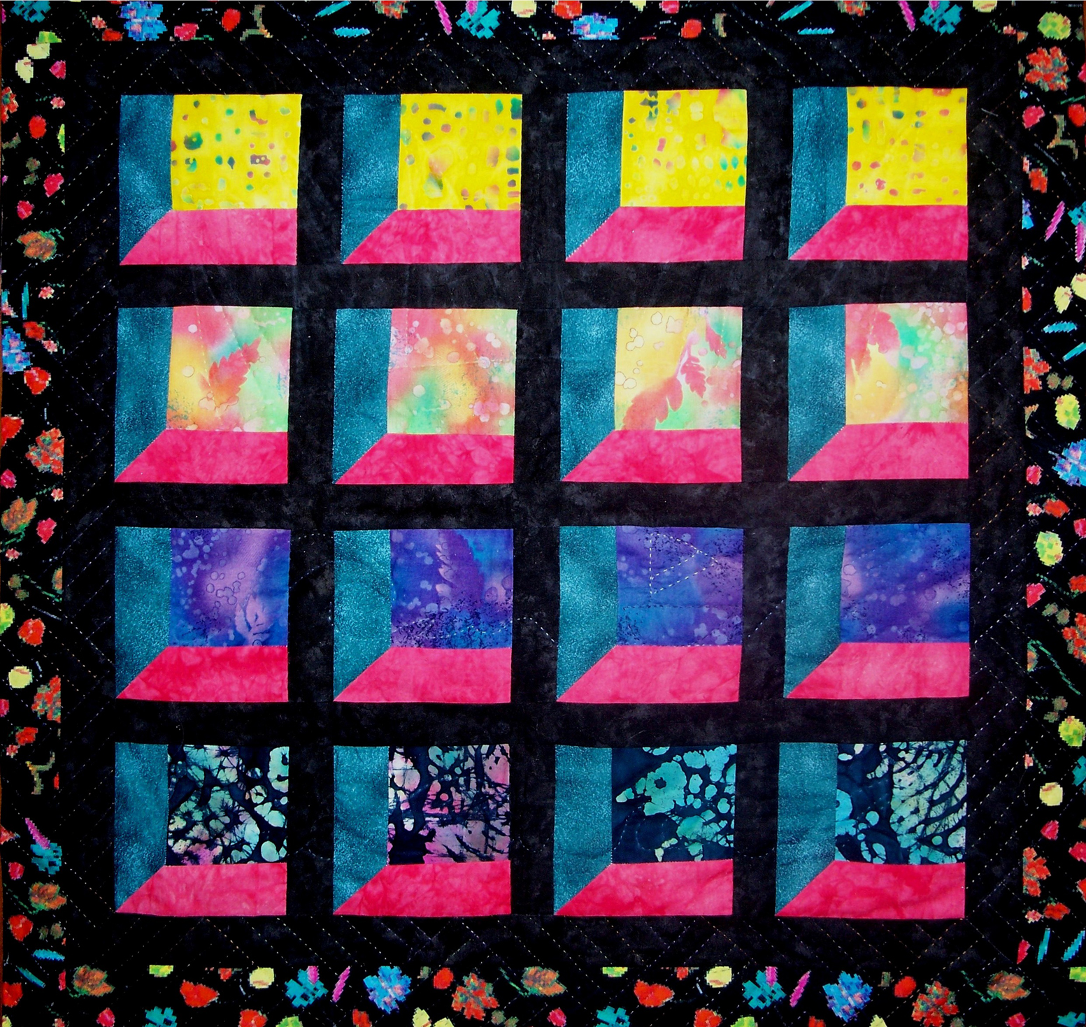 Attic Windows at Sunset art quilt