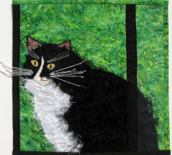 Cat in the Window fabric art