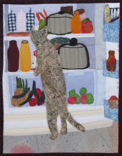 Cat in Fridge fabric art