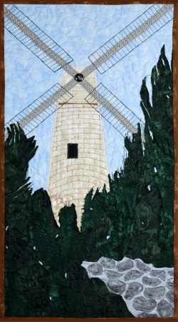 Jerusalem Windmill fabric art