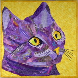 Complementary colors cat quilt art