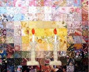 Shabbat candles watercolor challah cover