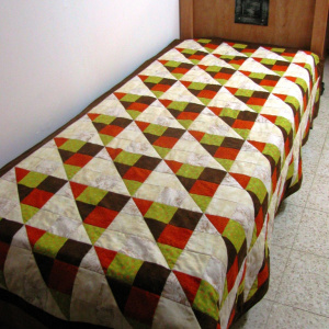 9-patch bed quilt