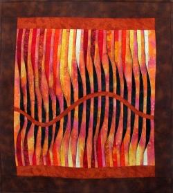 Waves of Fire art quilt