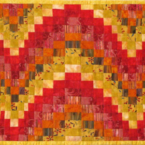 Reds and Yellows Bargello Quilted Coffee Table Runner