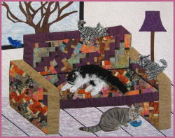 Couch of Cats fabric art