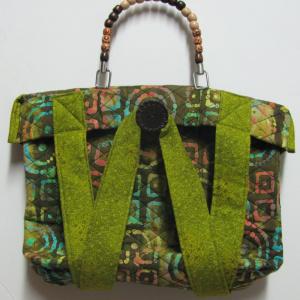 Olive green batik purse