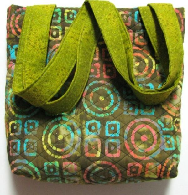 Olive green batik tote
