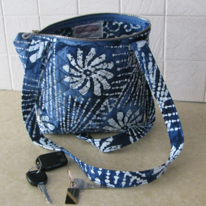 Blue batik purse