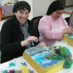 Rachel and Berta Shoshana are needle felting