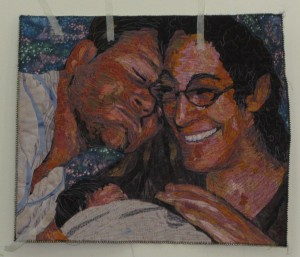 Phyllis's kids and grandchild quilted portrait