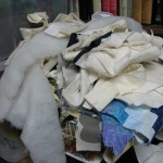 Piles of fabric scraps