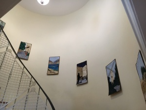 Art on spiral staircase