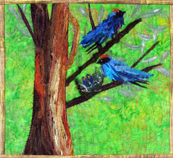 Swallow Family in a Nest art quilt