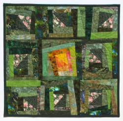Green Meadow at Sunrise art quilt
