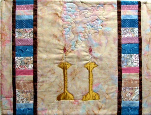 Shabbat candles challah cover