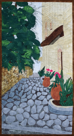 Alleyway in Safed art quilt