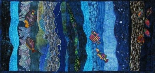Mediterranean fishscape fabric art