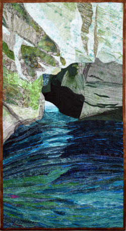 Grotto at Rosh Hanikra art quilt