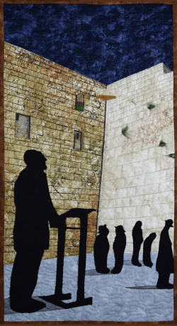 Praying at the Western Wall art quilt