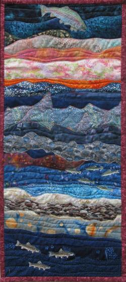 Trout Fishscape art quilt