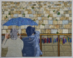 Reflecting at the Western Wall fabric art