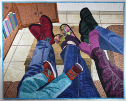 Put Up Your Feet and Take It Easy fabric art