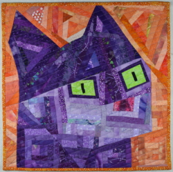 Abstract cat quilt art