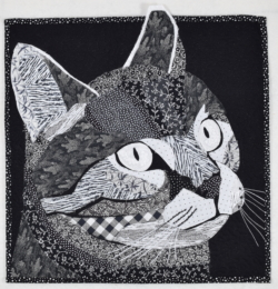 Black and white cat quilt art