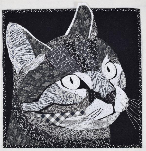 Black and White Cat fabric art
