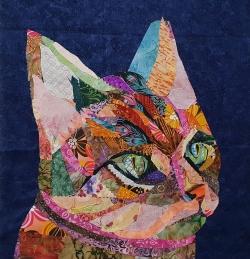 Collage Cat fabric art