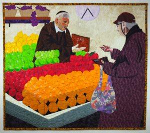 Rainbow of Colors at the Jerusalem Market fabric art