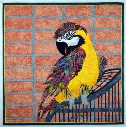 Talkative Parrot fabric art